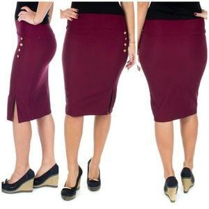 Women Pencil Skirt w. Buttons & Slit, D-4024, Wine
